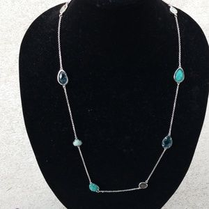 Minaret station necklace in turquoise and blue